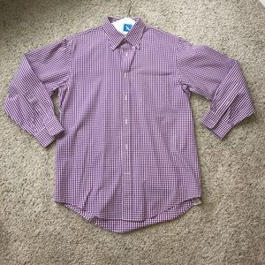Lands' End Men's Purple Gingham Button Down